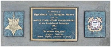 A memorial to Douglas Munro at the Point Cruz Yacht Club in Guadalcanal