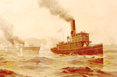 A painting of the Cutter Hudson in the Spanish-American War